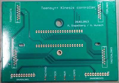 Teensy++ Kinesis controller manufactured PCB
