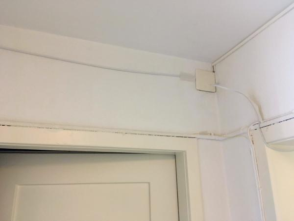fiber cables on the wall